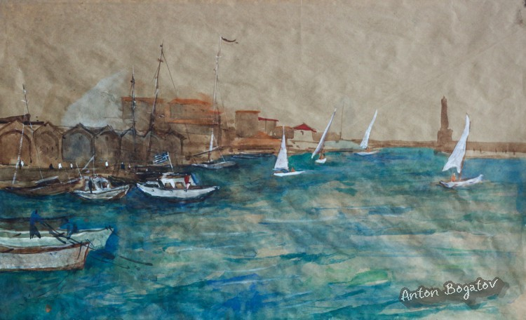 Chania morning, watercolor, Crete , Bogatov Anton