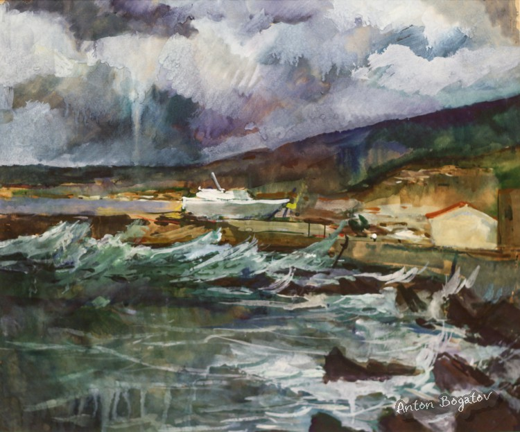 Storm in Rethymno Crete Greece watercolor