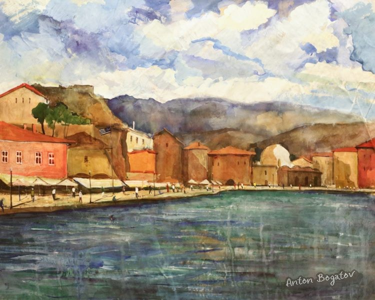 Naberezhnaya Chania, Crete Greece watercolor Bogatov Anton